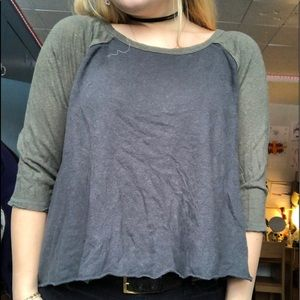 grey and green top